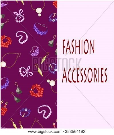 Accessories Fashion Jewelry Earrings Bracelets Jewelry Postcard Greeting Illustration Cover Vector
