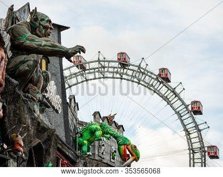 Vienna, Austria - 11/29/2019: Amusement Park In Prater (vienna) With Wiener Riesenrad In Background