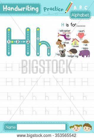 Letter H Uppercase And Lowercase Cute Children Colorful Abc Alphabet Trace Practice Worksheet For Ki
