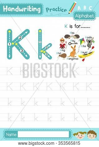 Letter K Uppercase And Lowercase Cute Children Colorful Abc Alphabet Trace Practice Worksheet For Ki