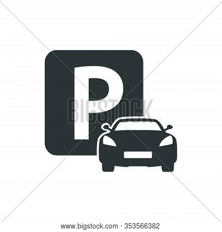 Parking Zone, Car Parking Icon - Vector Illustration