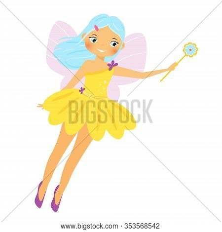 Cute Fairy. Cartoon Fantasy Fairy Princess Flapping Magic Wand. Pixie, Elf Girl With Blue Hair