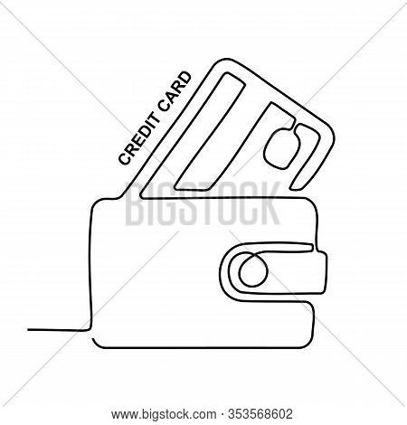 Continuous Credit Card  Illustration, One Line Art
