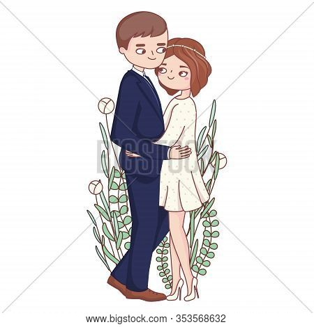 Bride And Groom In Romantic Embrace. Elegant Illustration Of Cute Romantic Couple Marriage Or Engage