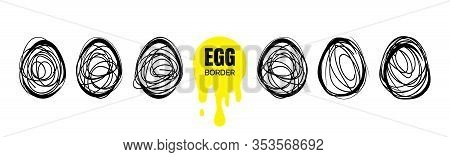 Continuous Egg Illustration, Thin Line Drawing Set