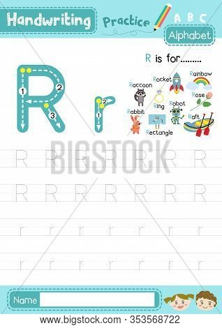 Letter R Uppercase And Lowercase Cute Children Colorful Abc Alphabet Trace Practice Worksheet For Ki