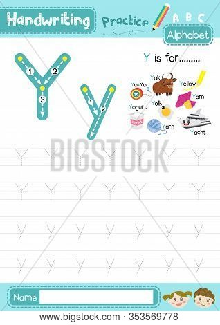 Letter Y Uppercase And Lowercase Cute Children Colorful Abc Alphabet Trace Practice Worksheet For Ki