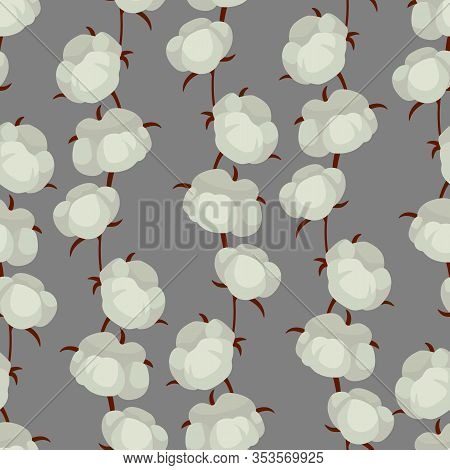 Vector Seamless Pattern With Vertical Cotton Branches; Cotton Bolls On Gray Background; Natural Desi