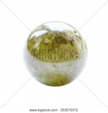 Polished Round Bead From Grossular (green Garnet) Gemstone Isolated On White Background