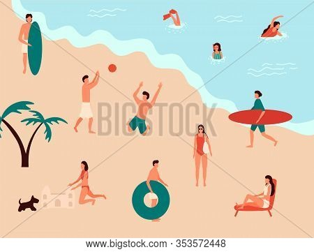 Sea Swimming. Active People Diving, Swim With Dog And Surfing. Summer Ocean Swimming, Enjoy Tropical