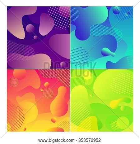 Color Abstract Fluid Social Media Background Set. Wavy Bubble Web Banner Colorful Design. Flowing Li