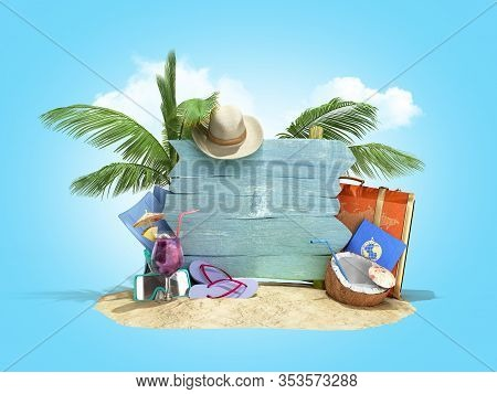 Concept Of Travel And Tourism Blue Plate Attractions And Red Suitcase For Travel On The Sand 3d Illu