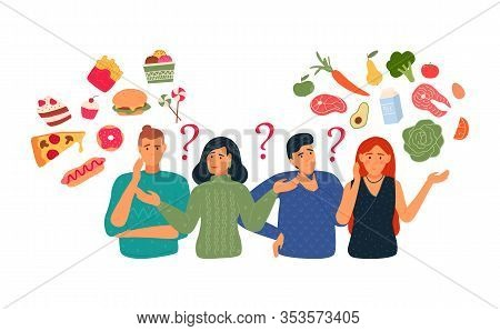 People Chooses Between Fast Food And Healthy, Lively Food. Diet Concept. People With A Balanced Diet