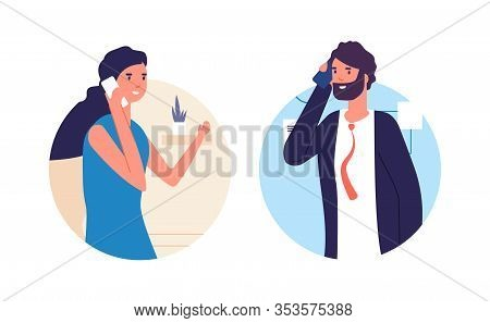People Talking Phone. Man And Woman Have Conversation. Business Dialog. Couple In Love, Wife And Hus
