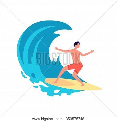 Surfer On Wave. Flat Young Man On Surfboard. Person In Water, Happy Surfing Traveler. Summer Beach A