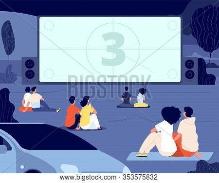 Open Air Cinema. Outdoor Relax, Car Movie Night. Friends Rest Backyard With Snacks, Screen. Dating C