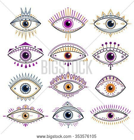 Eye Of Providence. Evil Eyes, Mystic Esoteric Symbols. Abstract Occult Signs Design. Decorative Alch