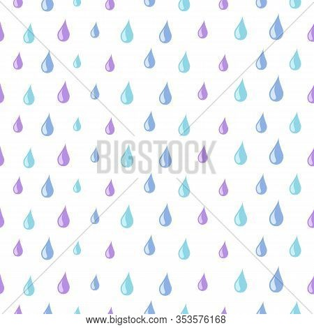 Drops Pattern. Rain Water Seamless Texture. Isolated Cute Blue Raindrops Print Or Colorful Tears Wal