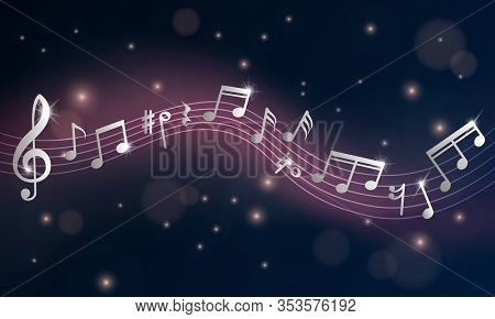 Music Notes. Musical Poster, Silver Note Symphony. Piano Concert Or Event Announcement Flyer. Retro