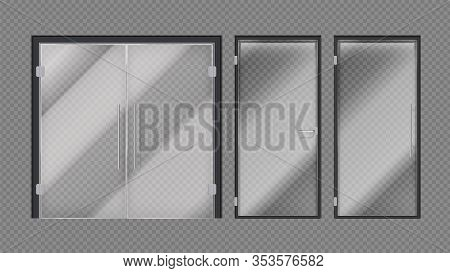 Realistic Glass Doors. Shopping Mall, Stores Or Office Building Entrance. Exterior Interior Modern E