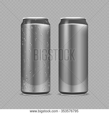 Steel Cans. Aluminium Bottles For Beer, Lemonade Or Soda Or Energy Drink. Metal Package With Water D