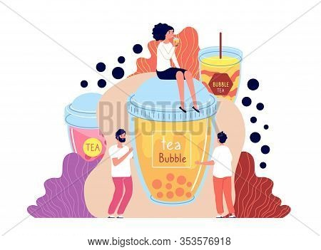 Bubble Milk Tea. Summer Asian Drinks. Male, Female Holding Boba Beverage. Flying Tapioca Balls, Smoo