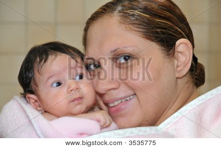 A Sweet Baby Girl With Her Mother