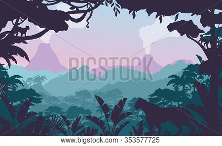 Tropical Jungle Flat Vector Illustration. Beautiful Evening Forest Landscape, Exotic Flora And Fauna