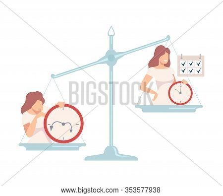 Disorganized Young Woman Is On One Side Of Scales, Punctual Person On The Other, Bad And Good Habits