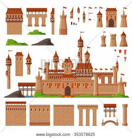 Medieval Castle Collection, Elements Of Ancient Stone Fortress Building Vector Illustration
