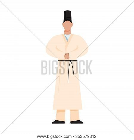 Shinto Priest. Japanese Religion. Traditional Religious Male Figure.