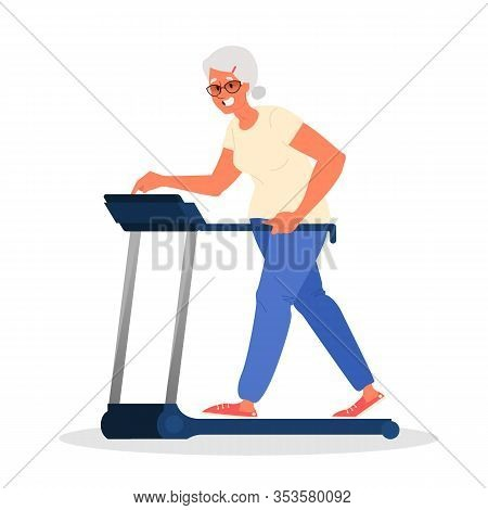 Old Woman In The Gym. Senior Training On Treadmill. Fitness Program