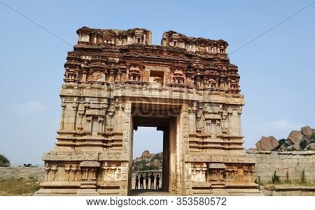 The Entrance The Achyutaraya Temple. The Ruin Of Ancient Temples Near The Village Of Hampi. The Grou