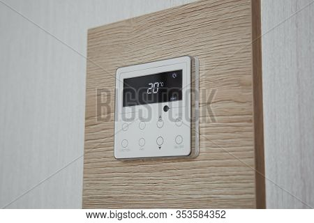 Air Conditioner Screen On The Wall That Shows An Air Temperature Of 20 Degrees Celsius