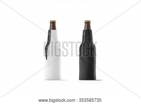 Blank Black And White Collapsible Beer Bottle Koozie Mockup Set, Isolated, 3d Rendering. Empty Ale O