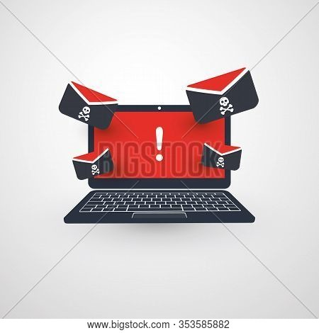 Laptop And Envelopes - Malware Attack Warning, Infection By E-mail - Virus, Backdoor, Ransomware, Fr