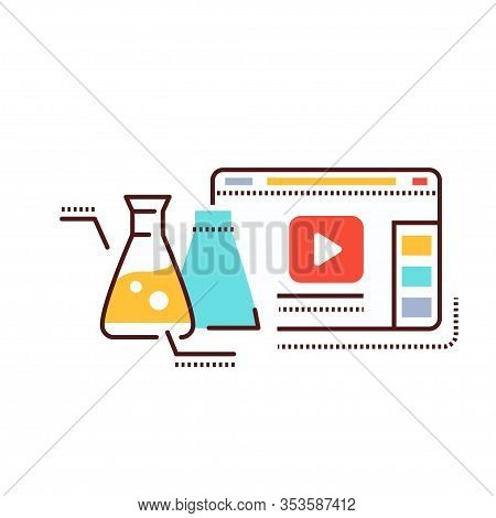 Science Blog Web Site Color Line Icon. Nano Industry Video Streaming. Vlogging Sign. Pictogram For W