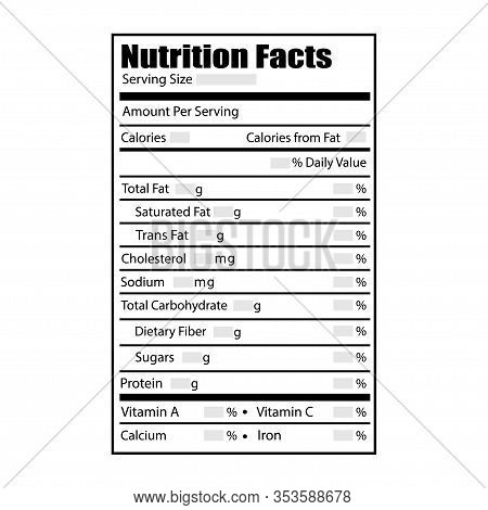 Nutrition Facts Design Label. Vector Illustration In Flat