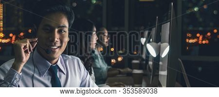 Banner Of Asian Male Customer Care Service With Businesswoman Smiling And Working Hard Late In Night