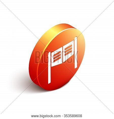 Isometric Old Western Swinging Saloon Door Icon Isolated On White Background. Orange Circle Button.