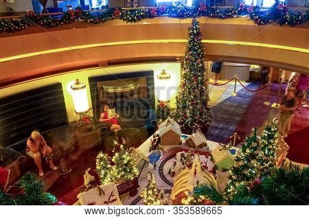 Fort Lauderdale - December 9, 2019: The Interior Of Atrium Holland America Cruise Ship Eurodam At Se