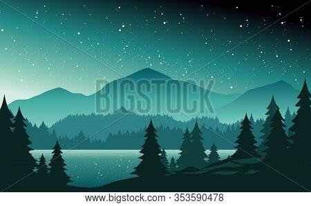 Mountains And Lake At Night Landscape Flat Vector Illustration. Nature Scenery With Fir Trees And Hi