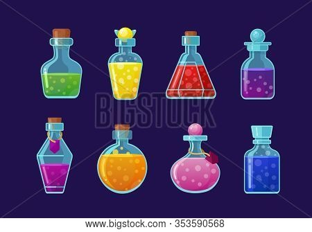 Potions Vector Cartoon Illustrations Set. Magic Drinks, Fairy Elixirs, Substance With Bubbles, Witch