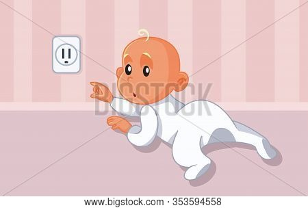 Baby Reaching For Uncovered Dangerous Electrical Outlet