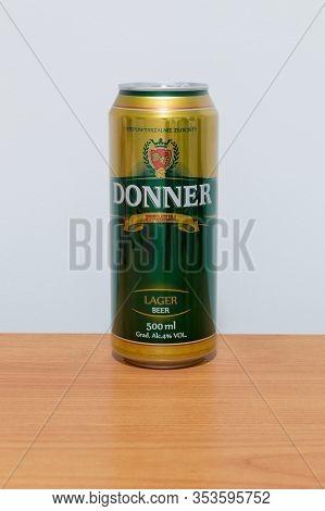 Pruszcz Gdanski, Poland - February 28, 2020: Donner Premium Lager Beer.