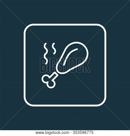 Chicken Leg Icon Line Symbol. Premium Quality Isolated Roasted Element In Trendy Style.