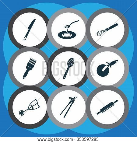 Kitchenware Icons Set With Can Opener, Wooden Spoon, Pastry Brush And Other Dough Elements. Isolated