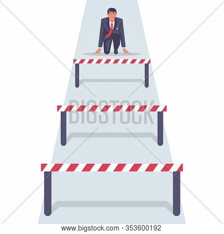 Conquering Adversity. Hurdle On Way Concept. Businessman Obstacle Metaphor. Overcoming Obstacle On R