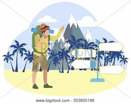 Tourist Points To The Signs Of The Minibus. In Minimalist Style Cartoon Flat Raster