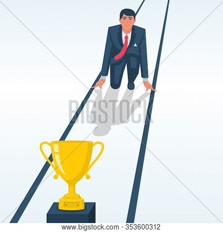 Businessman On Start To Victory. Cup For First Place. Successful Person Is Heading Towards A Goal. V